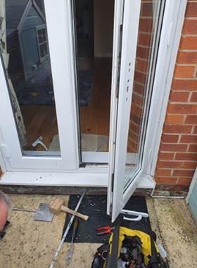 uPVC door being fixed